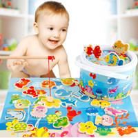 детские игрушки для детей оптовых-Детская головоломка Раннее образование Рыболовные блоки Детские игрушки Моделирование Головоломки в бутылках Деревянные игрушки для рыбалки Монтессори