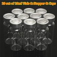 injektionsfläschchen klarglas großhandel-Neue 10ml klare Injektionsglasfläschchen Flasche + 20MM Flip Off Cap Stopper Flüssigkeit Medizin Crimp Abdichtung Probenbehälter