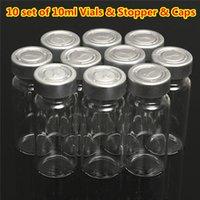 enjeksiyon şişeleri berrak cam toptan satış-Yeni 10 ml Temizle Enjeksiyon Cam Şişeler Şişe + 20 MM Kapalı Çevirin Cap Stoper Sıvı Tıp Sıkma Sızdırmazlık Numune konteynerler