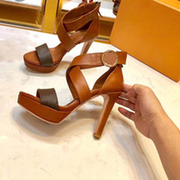 Wholesale cross heel stilettos resale online - New high heeled sandals high heeled shoes leather sandals comfortable sandals size box
