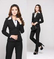 Wholesale beauticians uniforms for sale - New Professional Business Women Suits Pant And Tops Office Work Pantsuits Fall Winter Beautician Uniforms Blazers Plus Size