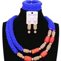 ювелирные изделия из коралла оптовых-Dudo Store Nigerian Jewelry Set For Women Royal Blue and Orange African Wedding Jewellery 2 Rows Beaded Crystal+Nature Coral