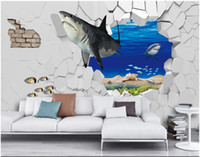 Wholesale shark room decor resale online - WDBH custom photo mural d wallpaper Fashion sea shark breaking wall tv background wall home decor living room wallpaper for walls d