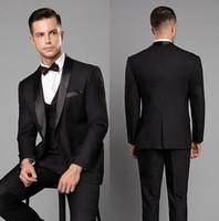 calça preta terno três botão venda por atacado-Custom Made Mens Casamento Smoking Preto Blazer Ternos Um Botão Xale Lapela Três Peças Noivo Mens Terno (Jacket + Pants + Vest)
