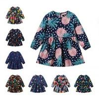 punhos de criança venda por atacado-Multicolor Meninas vestido de impressão bonito algodão babados babados crianças doces padrões de flores mangas compridas princesa vestido barco pescoço LJJV261
