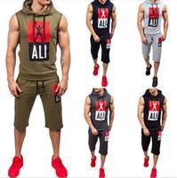 ärmelloser hoodie für männer großhandel-Sport-Sommer-Designer-Trainingsanzüge mit Buchstaben Ärmellose Trainingsanzüge Herren Lauf Hoodieshorts Trainingsanzüge Bekleidung