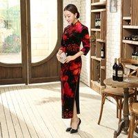 vestidos de flor vermelha chinesa venda por atacado-Preto Vermelho Chinês Tradicional Bordado Cheongsam Mulheres De Veludo Longo Qipao Handmade Botão Flor Magro Vestidos Tamanho S-3XL T0007