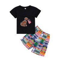 Wholesale boys summer for sale - Group buy Summer Boy T Shirt Set American Flag Independence National Day USA th July Solid Color Puppy Star Shirt Striped Print Shorts Two Piece
