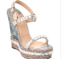 cuñas zapatos de boda bolsas al por mayor-Super Calidad Red Bottom Cataclou Sandalias de cuña de las mujeres Studs Señoras Correa del tobillo bombas fiesta boda zapatos con caja original, bolsa de polvo