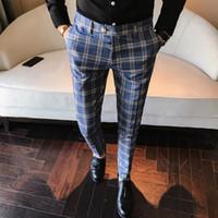 pantalones casuales para hombre de la boda al por mayor-Moda masculina 2019 Los hombres visten pantalón a cuadros de negocios casual slim fit homme clásico traje a cuadros vintage pantalones de boda