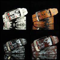 kafatası deri kemerler toptan satış-Erkekler Deri İş Kemer Moda Unisex Kafatası Baskı Kemerleri Klasik Lüks Kadın Parti Seyahat Kemer Festivali Hediye TTA977