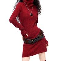 süveter çince toptan satış-Bayanlar Uzun Flare Kol Kaşmir Yün balıkçı yaka Vintage Triko Elbise Kadınlar Kış Siyah Beyaz Kızıl Çin Sıcak Casual DressMX190927