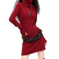 lã de pullover vintage venda por atacado-Longo alargamento da luva Cashmere Lã das mulheres camisola de gola alta do vestido do vintage mulheres Preto Inverno Branco Vermelho chinês Quente DressMX190927 Casual