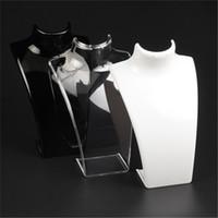 collar de maniquíes al por mayor-Nueva moda de acrílico maniquí exhibición de la joyería 20 * 13.5 * 7.3 CM collares pendientes modelo soporte Holder blanco claro color negro