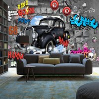 Wholesale insulation for cars resale online - Cute cartoon car D stereo wallpaper music mural vintage graffiti style wallpaper for children s room bedroom themed venue wall decorative