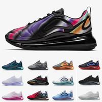 hombres mostrando mujeres al por mayor-Nike Air Max 720 Nuevos zapatos para correr Air Blue Void Metallic Silver Triple Black White Hombres Mujeres Zapatos para correr University Flash White Spirit Wolf Grey 36-45 EUR