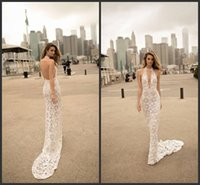 Wholesale lace halter neck mermaid wedding dresses for sale - Group buy 2020 New Berta Lace Wedding Dresses Halter V Neck Illusion Bodice Sweep Train Sexy Open Back Mermaid Bridal Gowns