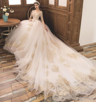 Wholesale shorter lace wedding dress resale online - Short Sleeve Royal Princess Wedding Dresses A line Gold Appliques Tulle Bridal Gown Crystal beading Court Train Bridal Dress Custom Made