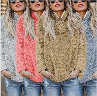 pulôveres de peles venda por atacado-Sherpa Fleece mulheres Pullover Hoodies de Alta Gola de Manga Longa de Inverno camisas de Suor com cap Gargantilha Berber Zipper Fur QQA31