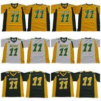uniformes de fútbol amarillo naranja al por mayor-Uniformes NDSU Bison Football Carson Wentz Jersey Verde Amarillo Blanco cosido Dakota del Norte State College Universidad