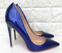 königliche blaue schuhe für frauen hochzeit großhandel-Königsblau Lackleder Cusp Fine Heel Damen High Heel Schuhe 8cm 10cm 12cm Big Code 44 Bankett Nachtclub Tanz Hochzeit Red Bottom Schuhe