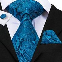 ingrosso legami floreali blu-12 Styles Floral 8,5 cm Silk Tie Set di lusso Grigio Blu Rosa Rosso Cravatte floreali per uomo Cravatte matrimonio maschile Fazzoletti Gemelli