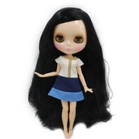 Wholesale long hair dolls resale online - ICY Nude Factory Blyth Doll Series No BL117 long Black hair white skin Joint body Neo Licca Pullip Jerryberry T200429