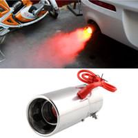 silenciadores para automóveis venda por atacado-Modificação universal do carro Red Light Flamejante Aço Inoxidável Silenciador Spitfire Car LED Tubo de Escape Sistema de Escape