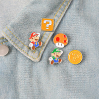 ingrosso gioielli funghi-Spilla Super Mario Mushroom Cartoon Infanzia Memoria Smalto Pin Gioielli Ornamento Distintivo Collezione Giacca Panno Borse di jeans Smalto Accessorio