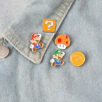 broches de pano venda por atacado-Super Mario cogumelo dos desenhos animados broche infância memória esmalte pin jóias ornamento emblema coleção jaqueta pano denim sacos esmalte acessório