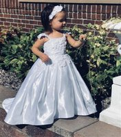 Wholesale graduation flower collar for sale - Group buy Satin Flower Girl Dress with Long Train Sleeveless Square Collar Floral Appliques Custom Made A Line Dress For Little Girls