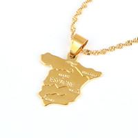jóias espanha venda por atacado-Espanha Mapa Pingente de Colar de Corrente de Jóias Para As Mulheres 24 K da Cor do Ouro Jóias de Amor ESPAGNE País Espanhol Mapa