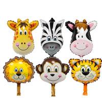 Wholesale mini birthday party resale online - Mini Cartoon Animals Foil Balloon Tiger Lion Cow Monkey Aluminum Film Balloon Balloons Kid Toy Birthday Wedding Party Decoration DBC VT0253