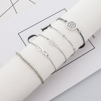 Wholesale dhgate bracelets lobster resale online - European and American style cross border creative New style bracelet Dhgate hot selling lucky word porous Palm five piece