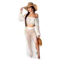 biquíni praia encobrir vestido de saia venda por atacado-Tampa mulheres Praia Vestidos Vintage Bikini Swimsuit Up malha Top Curto Dividir Saia Curta De duas partes Outfits