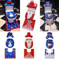 ingrosso coprisedili di natale-Coprisedili per WC di Natale 3 pezzi / set Happy Santa Rug Bagno Set Decorazione Natale creativo Accessori per bagno OOA7161