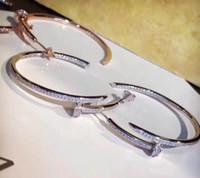 ingrosso orecchini di diamanti di alta qualità-Orecchini in cristallo di lusso in acciaio inossidabile di alta qualità 2019 di alta qualità in oro lucido Orecchini classici con scatola e borsa da trasporto