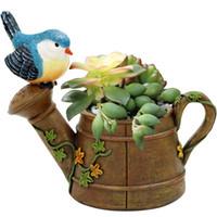 fleur zakka achat en gros de-Vente chaude Résine Planteur Flowerpot Oiseau Pastorale Douche Kawaii Zakka Succulentes Pot de fleurs Mini Paysage Jardin Home Office Decor