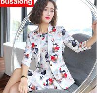 рабочая форма печати оптовых-2019 Flower printed Office Uniform Skirt Suit Autumn Full Sleeve Blazer Jacket+Skirt 2 Pieces Female Work Skirt Suits