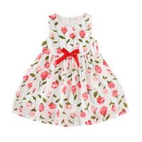 diz boyu etek kızlar için toptan satış-Bebek Kızlar Sunmmer Elbise Çocuklar Çiçek Baskılı Pileli Ruffled Yay Kolsuz Fermuar Elbise Bebek Kız Prenses Diz Boyu Dokuma Etek