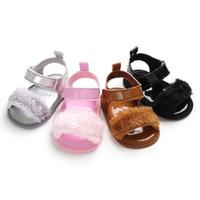 bebek kız bebek sevimli sandaletler toptan satış-Sevimli Kürk Bebek Sandalet Bebek Kız Sandalet Toddler Yaz Prenses Çocuklar Çocuklar Için kaymaz Beşik Ayakkabı