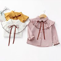 Wholesale New Fashion Bow Kids Girls Shirt Colors Lapel Long Sleeve Cotton Shirt Girl Children Casual Tops Kids Baby Clothes