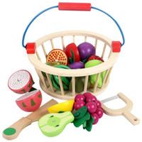 brinquedo de corte de madeira venda por atacado-Cesta de madeira da cesta de jardim da mãe crianças brinquedos de frutas jogo de frutas em miniatura jogar bebê criança cedo educacional play fingir brinquedo