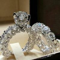 conjunto de jóias elegantes do casamento venda por atacado-Novos Acessórios de Moda das mulheres Completa de Diamante Zircão Par Anel de Casamento Princesa Fantasia Anel Quadrado Imitação de Diamante Set Senhoras Jóias