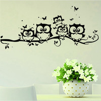 Wholesale door sticker art resale online - Baby Toy Kindergarten Decoration Stickers Wall Stickers Art Catoon Butterfly Black Owl Home Door Windom Decoration