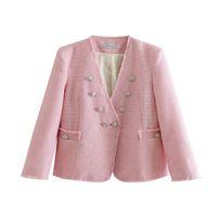 vordertasche v hals großhandel-Woll V-ausschnitt Anzüge Jacke Frauen Mode Langarm Anzüge Frauen Elegante Vordertaschen Mantel Jacke Weibliche Damen EJ01