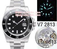 мужские наручные часы оптовых-Роскошный Супер плавательный V7 Версия Мужские Автоматические Часы N2813 Черный Зеленый Керамический Безель Циферблат ETA Профессиональные мужские часы для дайвинга