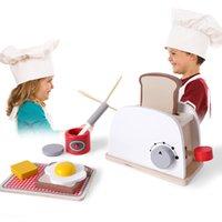 jogar jogos de cozinha venda por atacado-De madeira Pretend Play Cozinha Brinquedos Simulação Torradeiras Pão Set Cozinha Role Play Game Primeiros Brinquedos Educativos