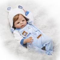 Wholesale baby dolls wigs resale online - Full Body SiliconeNPK cm lifeli Boy Reborn Babies Bear Doll Toys Princess Babies Doll Wig Hair Birthday Gift Kids Brinquedos