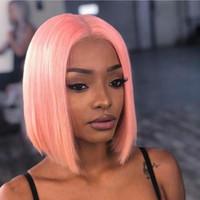 pembe saç kesimleri toptan satış-Dantel Ön İnsan Saç Peruk Renkli Bob Kesim Peruk Düz Kısa Peruk% 150 Pembe İnsan Saç Peruk Tam Sonu